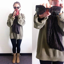 ZeroUV Sunglasses - Tommy Hilfiger Sweater, H&M Scarf, Zerouv Cat Eye Sunglasses - When in Sweater Weather, Drink Tea
