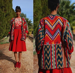 Luna Nova - Vintage Tribal Jacket, Thrifted Silk Shirt, Vintage Quilted Corduroy Skirt, Vintage Red Suede Boots - Everloving