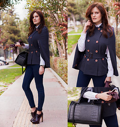 Viktoriya Sener - Persun British Style Double Breasted Cap Coat, Pull & Bear Jeans, Inci Booties, Zara Bag - NAVY CAPE