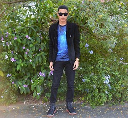 Wesley X. Torres - 21 Men Black Jacket, 21 Men Black Jean, 21 Men Black Boots, Imaginary Foundation Shirt - A Different Dimension