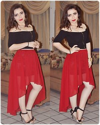 Hildeliza Martinez - Bershka Black Crop Top, Romwe Burgundy High Low Skirt, Mada Classy Shoes - New year's eve outfit