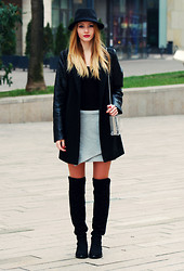 Vivienn Nagy - H&M Hat, New Yorker Coat, Frontrowshop Skirt, Wholesale7 Boots - Not Enough