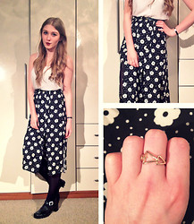 Aderyn H - New Look White Cami, River Island Daisy Midi Skirt, Juju Jellies Jelly Shoes, Citizen Eco Drive Leather Watch, Topshop Gold Triangle Ring - Dots & Daisies