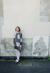 Kerry Lockwood - Topshop Patchwork Dress, White Tights, Black Suede Wedges - Patchwork Dress...Patchwork Wall...