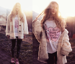 Jessica Christ - The Orphans Arms Top, Fizzen Faux Fur Coat, Dr. Martens Flats - I don't think of you that often.