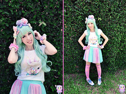 Luly Pastel Cubes - I Wish Upon A Star Skirt, Reebok Sneaker, Maniaq Top, Follow The White Rabbit Necklace - Minty marshmallow