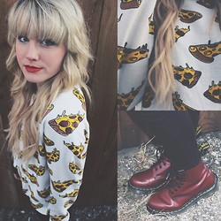 Whitney Paige - Forever 21 Pizza Sweater, Dr. Martens - Pizza Party