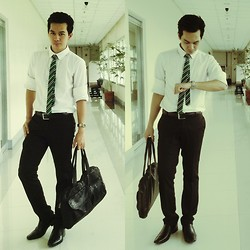 Earth Sagun - Button Down, Folded And Hung Tie, Black Leather Belt, Casio Watch, Messenger Bag, Main Street Trousers, Black Loafer - Serious Monkey Busness