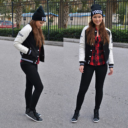 Raspberry Jam - Choies Vogue Beanie, Swaychic Plaid Shirt, 6ks Varsity Baseball Jacket, Charlotte Russe Skin Tight Leggings, Sugar Studded Sneakers - Varsity Jacket in Black and White