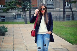 Jana Jelena Tijana - Zara Coat, Zara Bag, Zara Jeans, Tally Weijl Sweater - Casual day