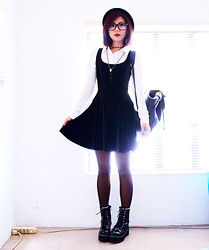 Bernadette F - Shirt, Cross Beaded Necklace, Velvet Skater Dress, Studded Backpack, Boots - Black velvet