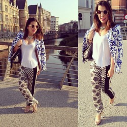 Kay M. - Zara Blazer, Top & Trousers, Forever 21 Shoes, Vintage Bag, Six Glasses, Six Necklace - Throwback Summertime