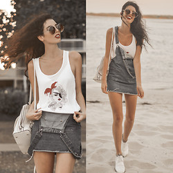 Elle-May Leckenby - Bandit Singlet, Zerouv Big Round Shades, White Creepers - Beachy Bandit