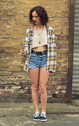 Poppy Lee Jones - H&M Plaid Shirt, Urban Outfitters Crop Shirt, Thrifted Leather Belt, Levi's® Denim Shorts, Vans Shoes -  so i fill my lungs with love as hope gives me strength