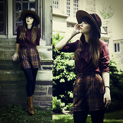 Rachel-Marie Iwanyszyn - Thrifted Plaid Shorts, Acne Studios Boots, Vintage Hat - PENCHANT FOR TRAVEL.