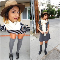 Yessenia L. - H&M Stripped Skater Dress, Forever 21 White Scarf, Target Brown Floppy Hat, Lolashoetique Black Oxfords, 99 Cents Store Grey Thigh Highs - While the country freezes..