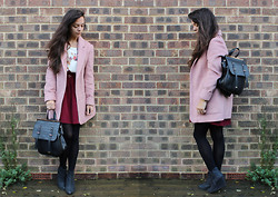 Kirsti Lee - New Look Pink Fluffy Coat, Zara Floral Top, Homemade Burgundy Skirt (Diy), New Look Backpack, New Look Wedge Boots - How can you believe in them, darling?