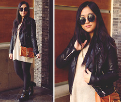 Kelsey Nguyen - H&M Jacket, Rebecca Minkoff Mini Mac Bag, Missguided Boots, Wow Vintage Sunnies - BACK IN BLACK
