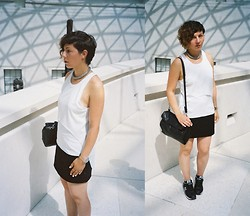 Milica Stojsic - Self Made Diy White Airtex Mesh Top, Aloha Helsinki Chaimail Choker Necklace, Zara Lunch Bag, Swatch Transparent Wrist Watch, Self Made Diy Mini Skirt, New Balance 373 Sneakers - London Calling