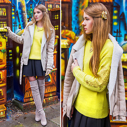 Tatiana Vasilieva - Coat, Choies Sweater, Choies Lion Necklace, Asos Hair Brooch, Stuart Weitzman Boots - Winter Lemon <3