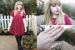 Sarah Worcester - Oh My Love Red Smock Dress, Accessorize Sterling Silver Ring - Rose