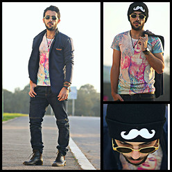 Khalil Alaoui - Sammydress Korean Style Jacket, Sammydress T Shirt, Sammydress Moustache Beanie, Rigin Racer Trouser, Vintage Sunglasses, Zara Boots, G&B Braided Hook Bracelet - True Fashion Has No Rules