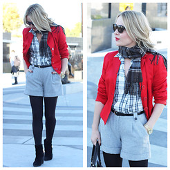 Zia Domic - Tara Jarmon Red Blazer, Rhyme Los Angeles Plaid Shirt, Nordstrom Flannel Shorts - Flaming Red