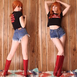 Candace Campbell - Levi's® Vintage Denim Cut Offs, Indigo Moon Vintage Rocky Horror Picture Show Crop Top, Indigo Moon Vintage Red Leather Boots - Rocky horror