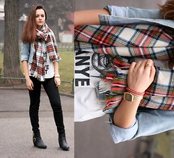 Simona Slavova - H&M Scarf, H&M Top, Zara Black Jeans, H&M Boots, Tally Weijl Watch, Secondhand Denim Jacket - Plaid isn't bad