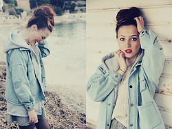 Emmy Freeman - Asos Ear Jewelry, Sheinside Jean Jacket, H&M Sweater, Sheinside Grey Jacket - Ma douce souffrance