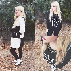 Whitney Paige - Sheinside Plaid Coat, Forever 21 Varsity Sweater, Forever 21 White Combat Boots, Charming Charlie Gold Chain Link Necklace - 'W' is for Whitney
