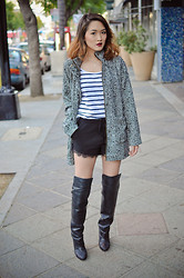 Susan Nguyen - H&M Thigh High Boots, Cotton On Wool Coat, Zara Lace Shorts - Wool Coat +Thigh High boots