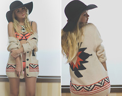 Olga Choi - Triangl Underwear, Forever 21 Aztec Cardigan, Oasap Hat, Oasap Necklace - Aztec power