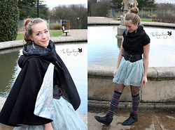 Claire Raywood - Handmade Sparkly And Flower Infinity Scarf, Handmade Cape, Primark Black T Shirt, New Look Waisted Belt, Primark Lace Skirt, Knee Length Socks, Primark Fluffy Boots, Handmade Chain And Bead Earrings - Skirt of Ice