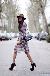 Natasha N - Ankle Boots, H&M Floral Dress, Bates Hat - Florals and Not-so-Floppy Hats