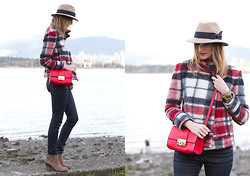 Alison Hutchinson - Holt Renfrew Hat, Zara Coat, Asos Bag, Rag & Bone Jeans - Red Plaid