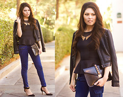 Careese Quon - Charlotte Russe Black Peplum, Charlotte Russe Leather Jacket - Moto Glam