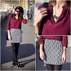 Céline Cavaillero - Naf Blouse, New Look Skirt, Jonak Booties, New Look Necklace - Counting Stars