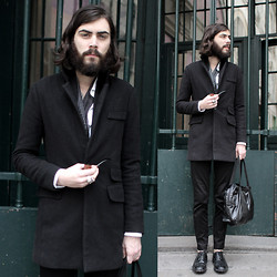 Tony Stone - Topman Black Pants, American Apparel Black Bag - Somewhere.