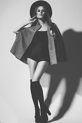 Candace Campbell - Free People Big Black Hat, Bcbg Wool Cape, American Apparel Disco Shorts, Jeffrey Campbell Perfect 2 Platforms - Witchy woman