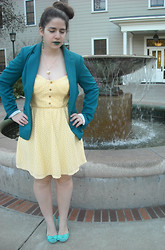 Dani RT - Lime Crime Serpentina, Forever 21 Teal Blazer, Charlotte Russe Yellow Dress, Charlotte Russe Flats - Emerald Lips