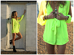 Blacksparrow. X - Therapy Black Faux Snakeskin Boots, Hipster Lime Bowtie Playsuit, Samantha Wills Snake Ring - Summer Sun.