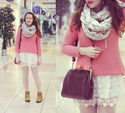 Margarita Rafinad - O'stin Lace Dress, New Look Rose Sweater, Bag, Accessorize Scarf - Cranberry and marshmellow
