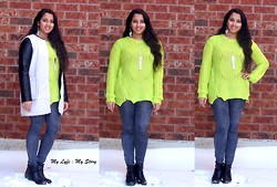Harija Ravi - 6ks.Com British Green Sweater, Sammy Dress Slimming Jeggings, H&M, 6ks.Com Black Leather Jacket - Pop Of Lime