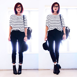 Bernadette F - Stripe T Shirt, Backpack, Topshop Bowler, Jeans, Back Zipper Ankle Boots - With every heartbeat..