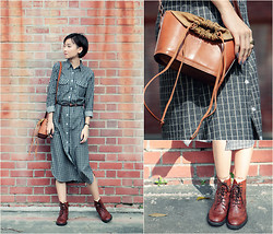 Uli C - Dressabelle Checked Shirt Dress, Taobao Leather Oxford Boots, Vintage Leather Bucket Sling - Chasing Light