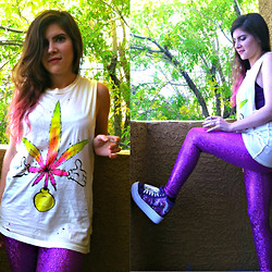 Claire D - Unif Sticky Mickey Muscle Tee, American Apparel Purple Cami, Neon Wonderland Reptilian Elite Amethyst Leggings, Yru Unicorn Platform Sneakers - I'm in love with Mary Jane. She's my main thing.