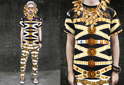 Andre Judd - Diy Laurel Beard, Belt Print Tee, Belt Print Trousers, Flying Toger Slipons, Diy Buckle Print Lens - THE GOLDEN LION
