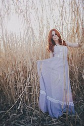 Candace Campbell - Gunne Sax Vintage Dress - Lavender Gunne Sax wheat field