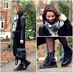Herz über Kopf - H&M Scarf, Dr. Martens Boots, Urban Outfitters Backpack, Monki Leather Jacket, H&M Long Cardigan - Cozy